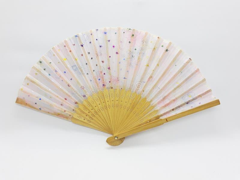 与织品袖子05的木竹丝绸折叠的爱好者中国日本葡萄酒减速火箭的样式手工制造丝绸花卉样式手爱好者 库存照片