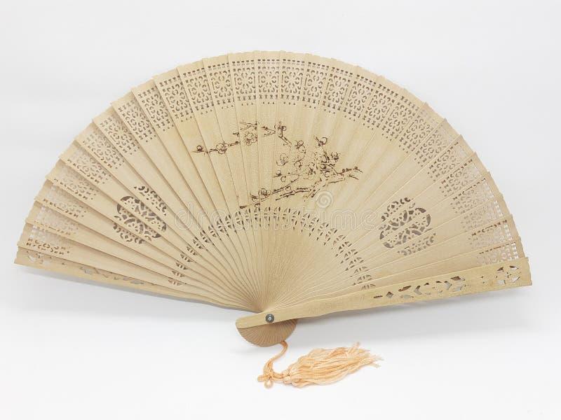 与织品袖子08的木竹丝绸折叠的爱好者中国日本葡萄酒减速火箭的样式手工制造丝绸花卉样式手爱好者 免版税图库摄影