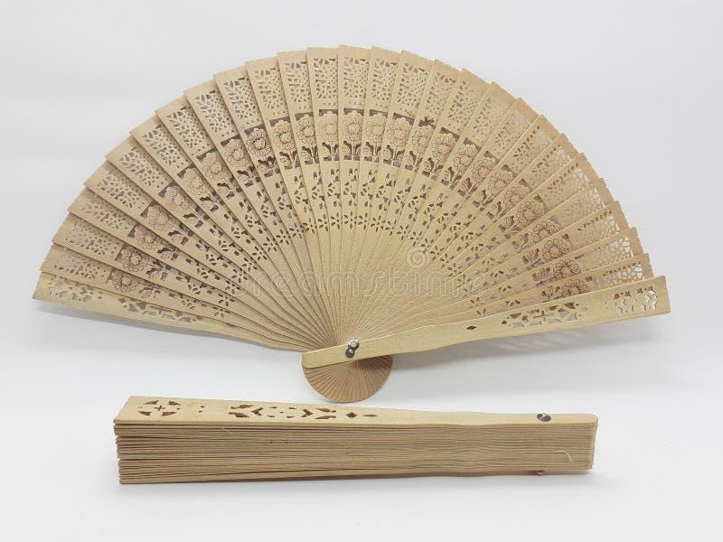 与织品袖子15的木竹丝绸折叠的爱好者中国日本葡萄酒减速火箭的样式手工制造丝绸花卉样式手爱好者 库存照片