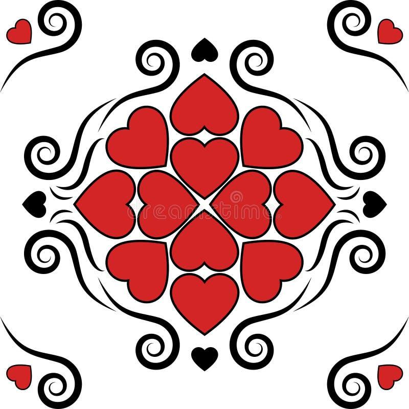 与经典葡萄酒维多利亚女王时代的心脏装饰无缝的样式传染媒介减速火箭的老牌背景情人节或婚礼invit 向量例证