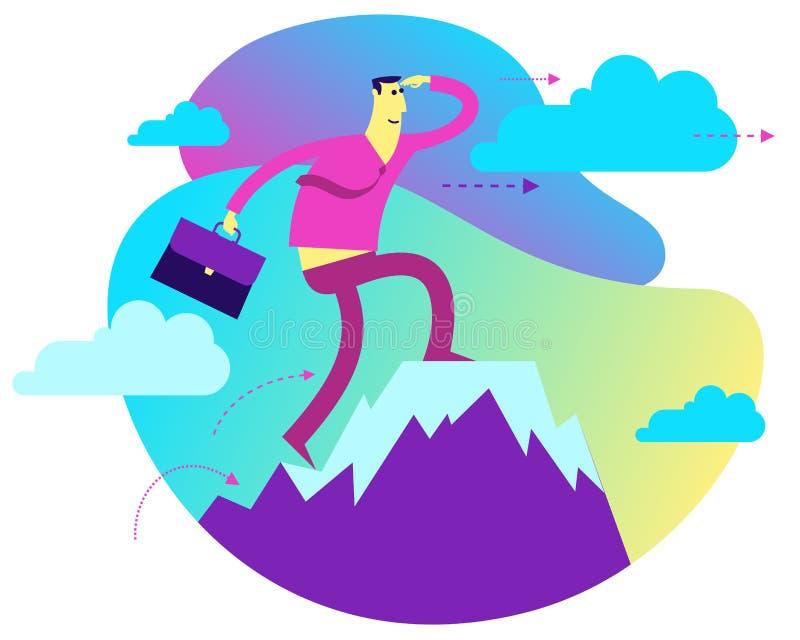 与经济情况的例证的企业infographics 商人站立在成功山顶部 向量例证