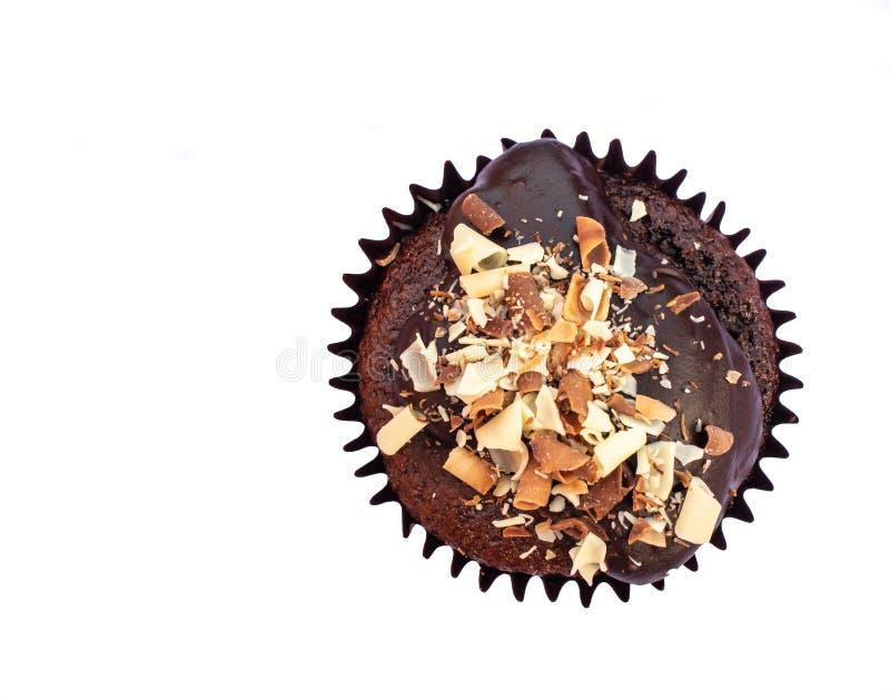 与结冰和装饰的自创巧克力小圆面包 免版税库存照片