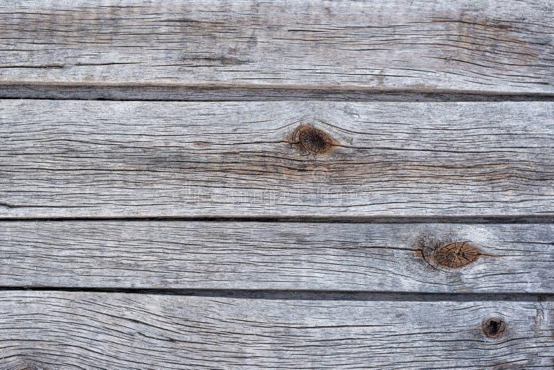 与结的灰色水平的木板条 E 图库摄影
