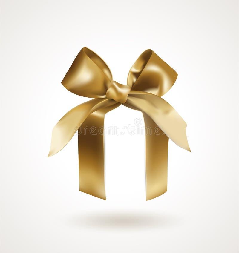 与结的金黄典雅的弓在白色背景隔绝的抽象箱子 可实现的向量例证 库存例证