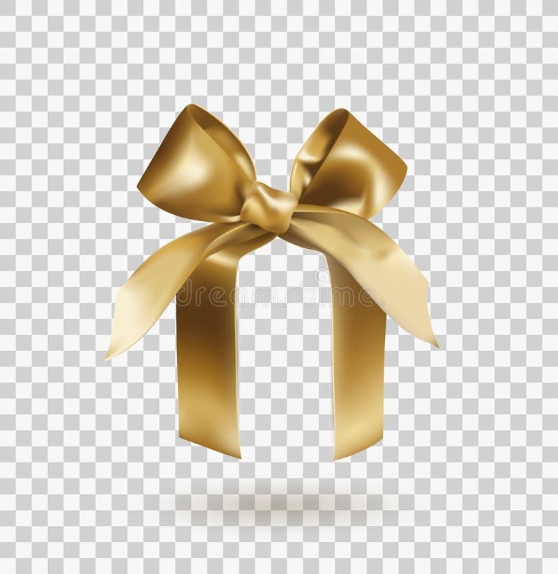 与结的金黄典雅的弓在透明背景隔绝的抽象箱子 可实现的向量例证 库存例证