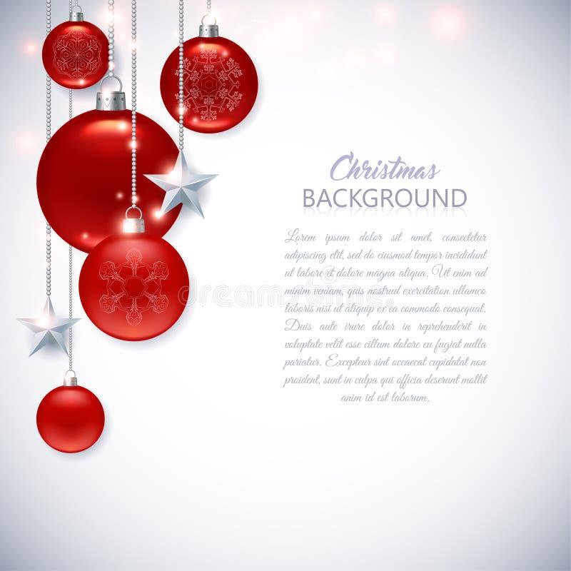 与结霜的和光滑的红色C的典雅的白色圣诞节背景 库存例证