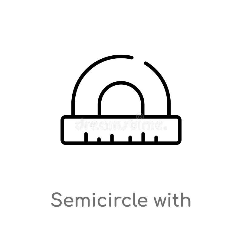 与统治者传染媒介象的概述半圆 被隔绝的黑简单的从教育概念的线元例证 编辑可能的传染媒介 向量例证