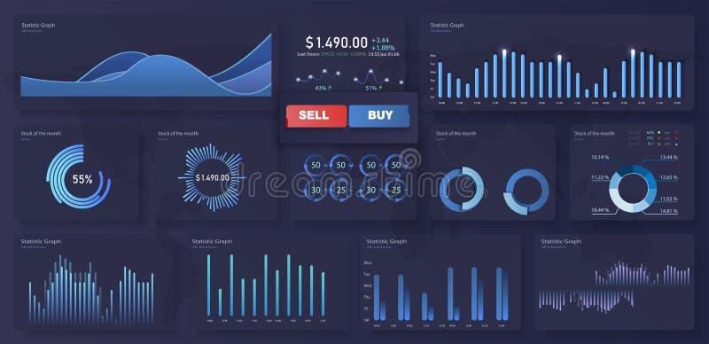 与统计图表和财务图的现代现代infographic传染媒介模板 图模板和图图表,图表 库存例证