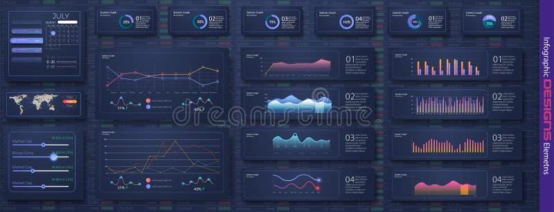 与统计图表和财务的现代infographic传染媒介模板 皇族释放例证