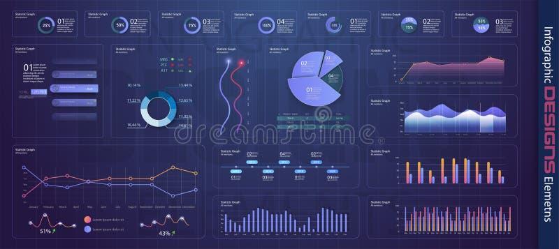 与统计图表的现代infographic模板 向量例证