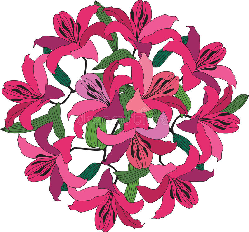 与绯红色和桃红色百合的花束 库存例证