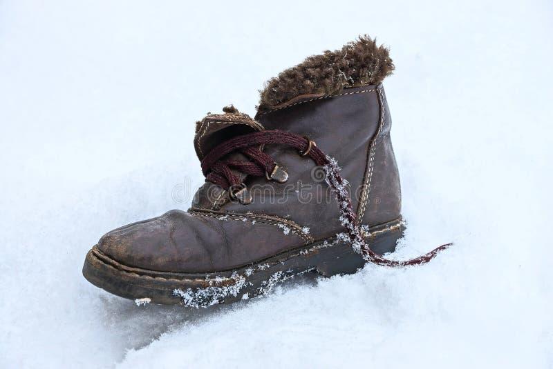 与绳子的老冬天褐色起动在白雪站立 库存图片