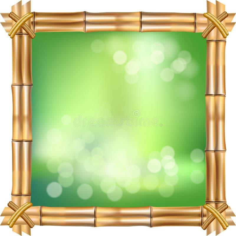 与绳索,在白色背景的绿色bokeh的正方形褐色干燥竹词根边界 皇族释放例证