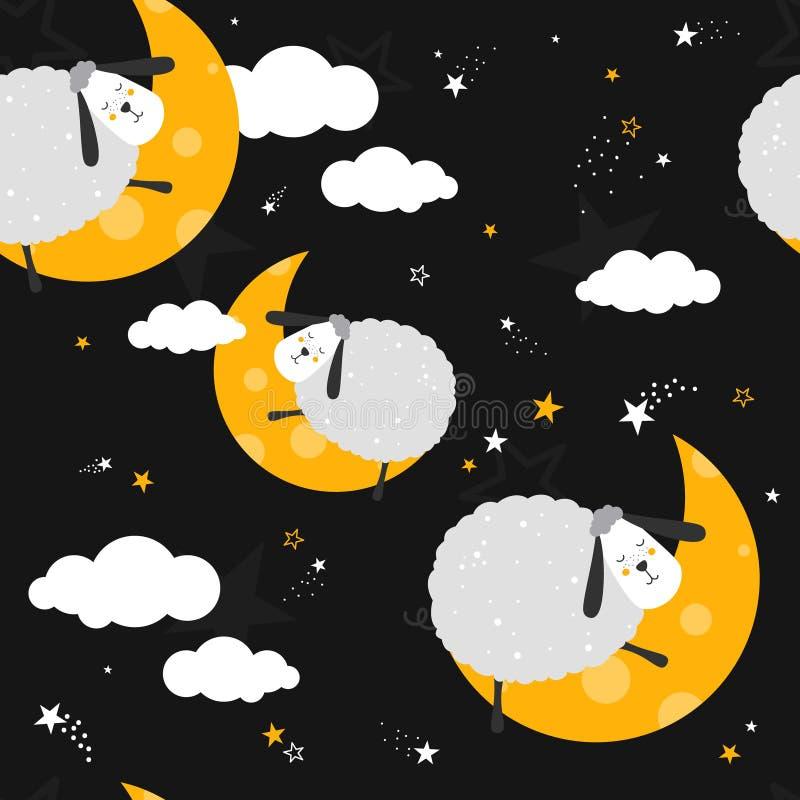 与绵羊的五颜六色的无缝的样式,月亮,云彩,星 皇族释放例证