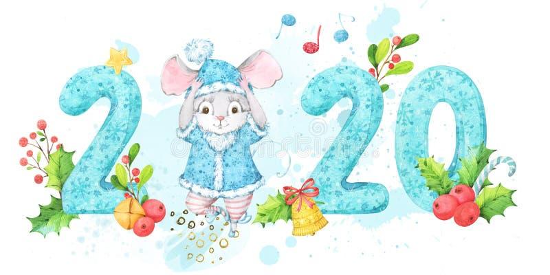 与绿松石手画被仿造的数字的水平的2020新年横幅和逗人喜爱的老鼠,在蓝色服装的鼠 背景deco 皇族释放例证