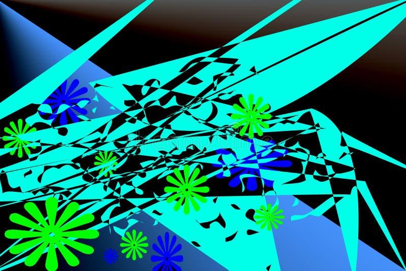 与绿松石的抽象元素,绿色,蓝色的样式 向量例证