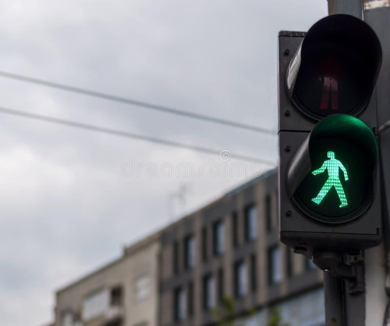 与绿灯lit.的红绿灯 免版税库存照片
