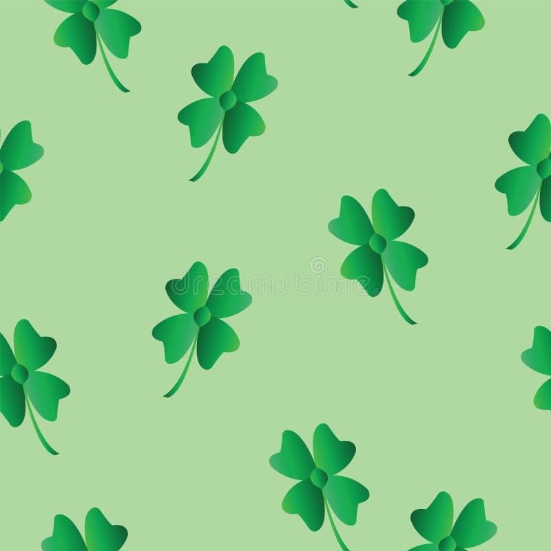 与绿色三叶草的无缝的样式-圣徒帕特里克斯天题材-绿色背景 库存例证