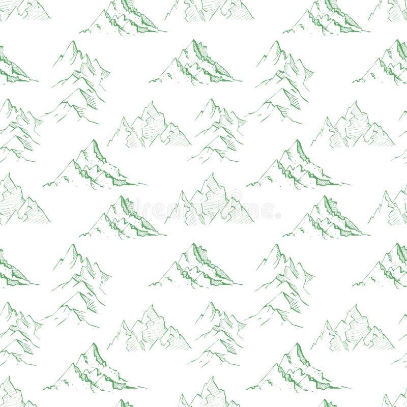 与绿色乱画剪影山的无缝的背景 能为墙纸,样式积土,纺织品,网页使用 皇族释放例证