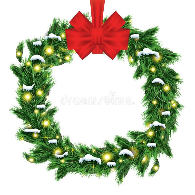 与绿色冷杉在W隔绝的分支和红色弓的圣诞节花圈 库存例证