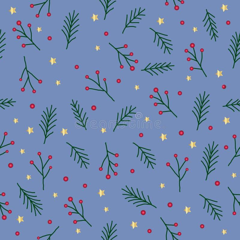 与绿色冷杉枝杈、红色莓果、云杉的树小树枝金黄星和圈子的无缝的圣诞节样式在蓝色背景, vecto 皇族释放例证