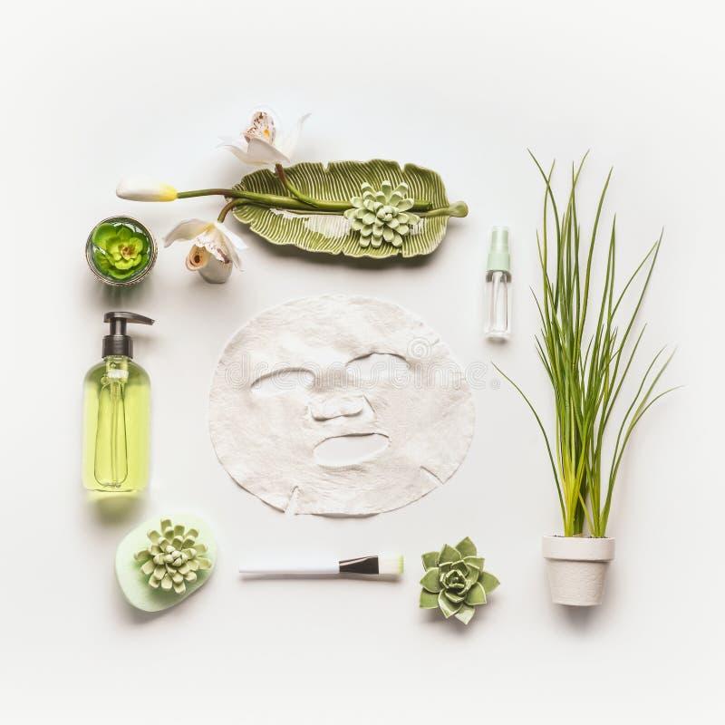 与绿色化妆产品、辅助部件、植物和兰花的平的位置板料面具开花 免版税库存照片