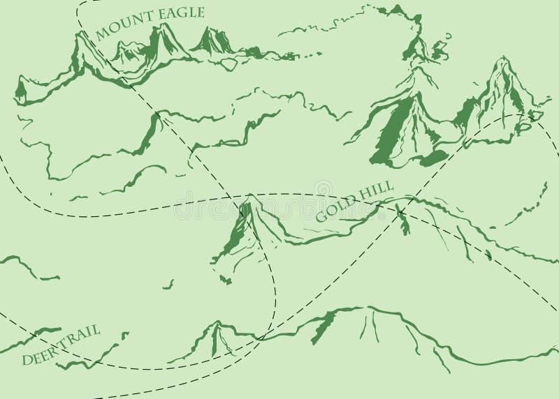 与绿色历史的寓言地图的年迈的幻想葡萄酒样式 皇族释放例证