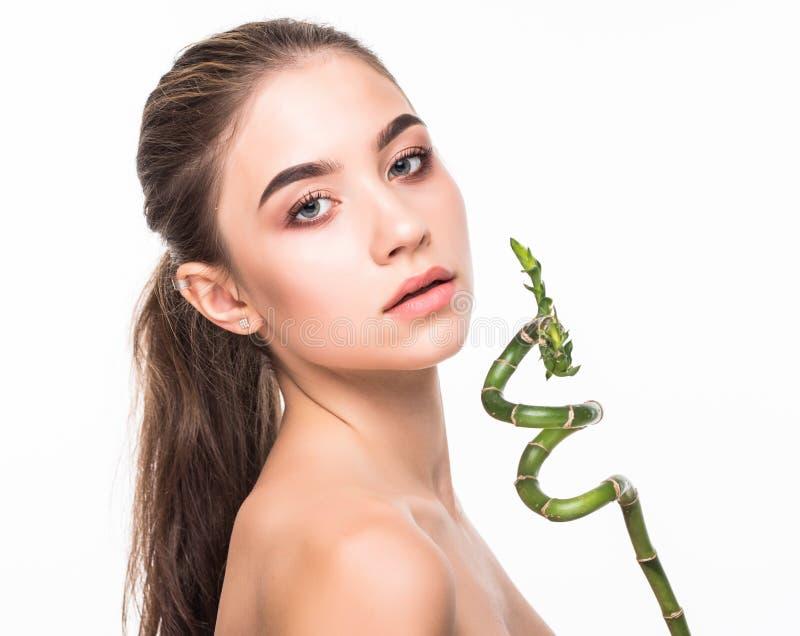 与绿色叶子、概念护肤的或有机化妆用品的画象美丽的妇女面孔画象 免版税库存图片