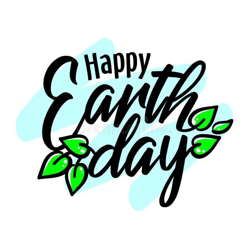 与绿色叶子、横幅、海报、贺卡或者邀请,传染媒介的愉快的地球日4月22日封缄信片 向量例证