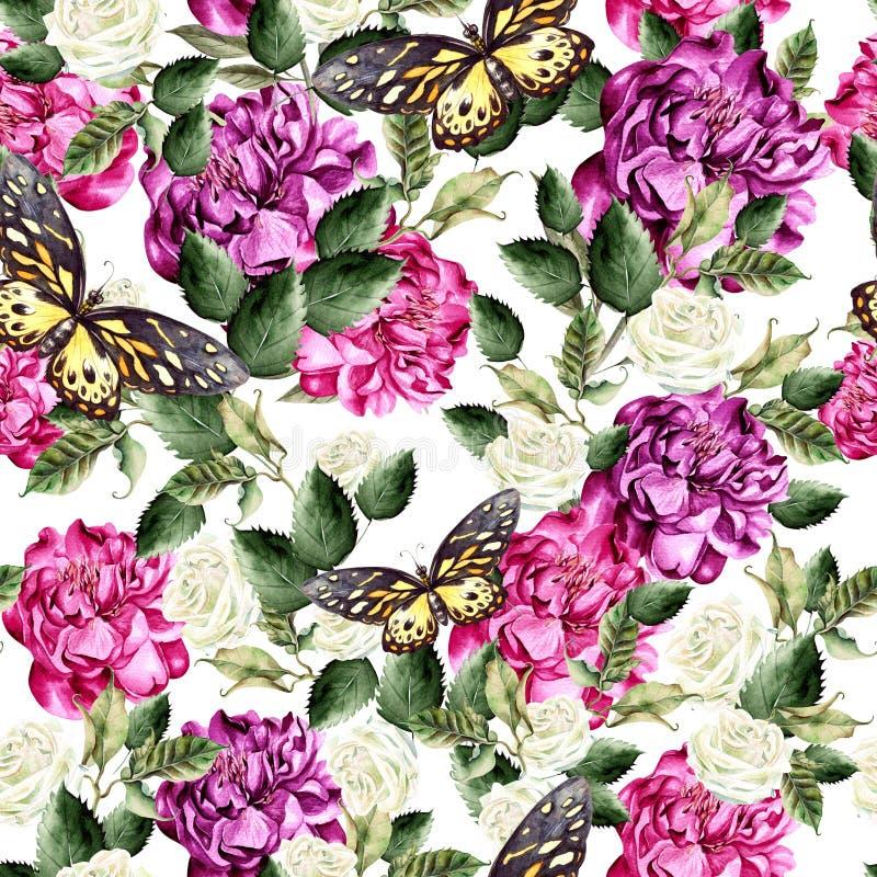 与绿色叶子、牡丹和玫瑰花的水彩样式 皇族释放例证