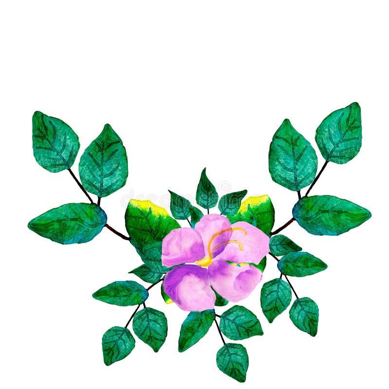 与绿色叶子、紫色花和分支的水彩手画花圈 库存例证