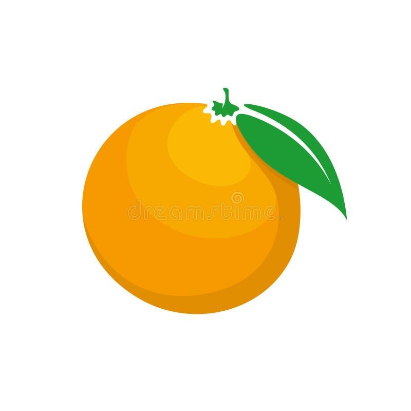 与绿色叶子动画片样式标志的新鲜的成熟橙色果子 向量例证