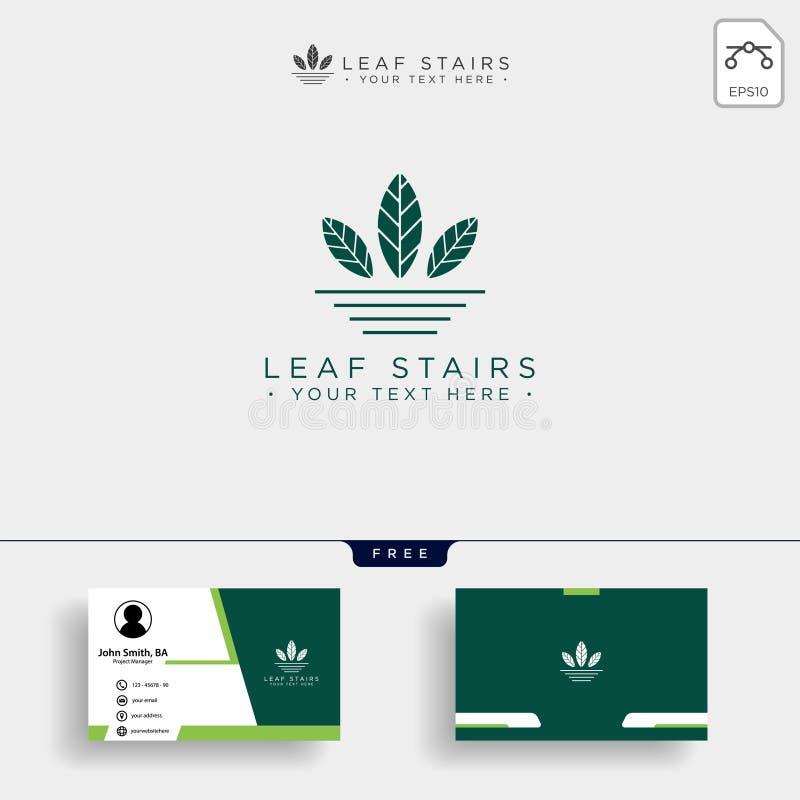 与绿色叶子和台阶的创造性的eco商标 库存例证