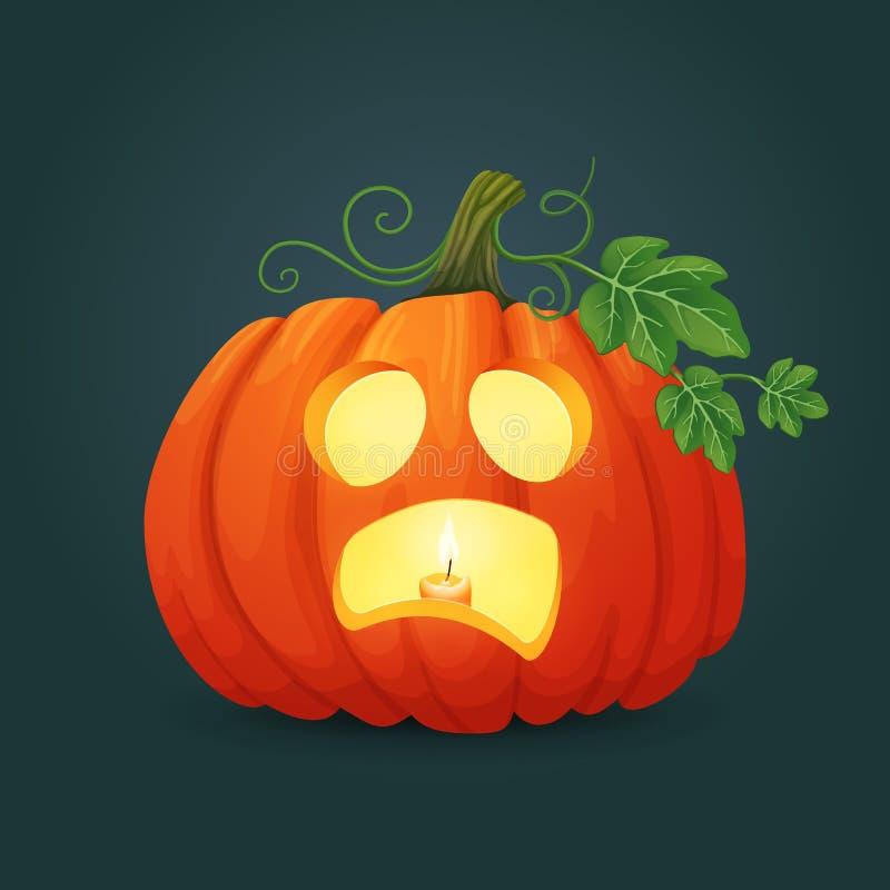 与绿色叶子和藤的害怕的橙色卵形南瓜与里面蜡烛 库存例证