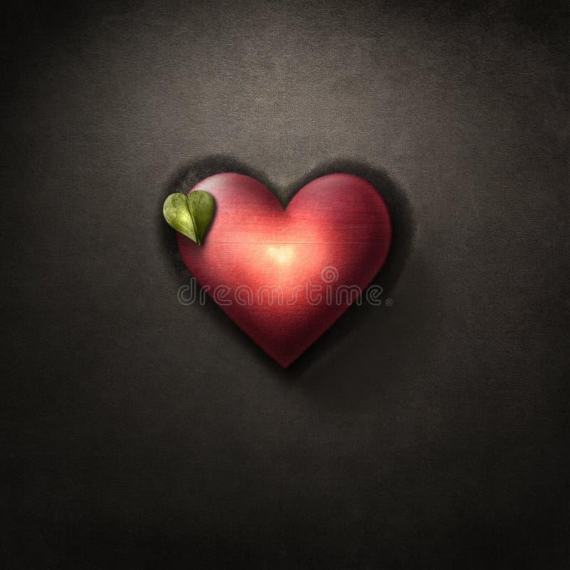 与绿色叶子的充满活力的红心在黑暗,脏的棕色backgrou 皇族释放例证