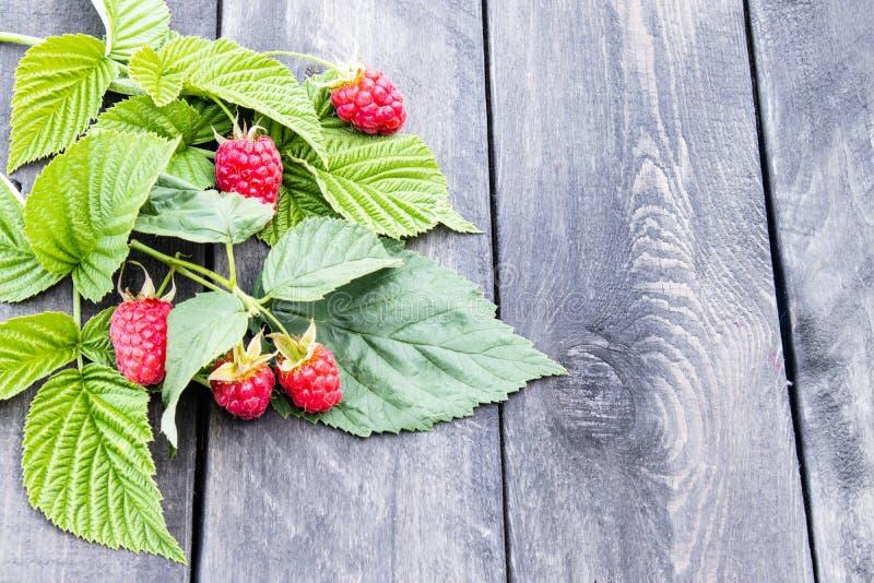 与绿色叶子的成熟红草莓在老黑暗的委员会背景  r 库存照片