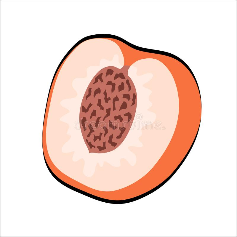 与绿色叶子的甜动画片桃子在白色,储蓄传染媒介不适 皇族释放例证