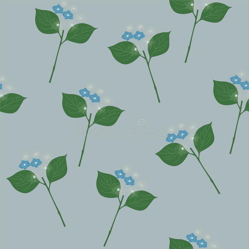 与绿色叶子的精美蓝色和白花在浅灰色的背景 嫩灰色蓝色样式 无缝的模式 库存例证