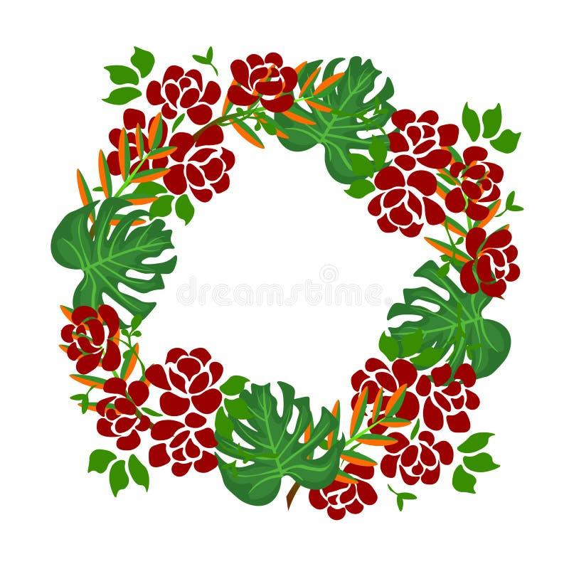与绿色叶子的网圆的框架 庭院绿叶启发的手画绿色叶子的概念和制地图 装饰花圈 向量例证