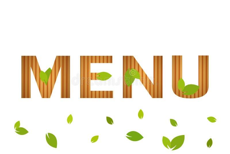与绿色叶子的被隔绝的自然菜单传染媒介标志在白色背景 餐馆菜单盖子 免版税库存照片