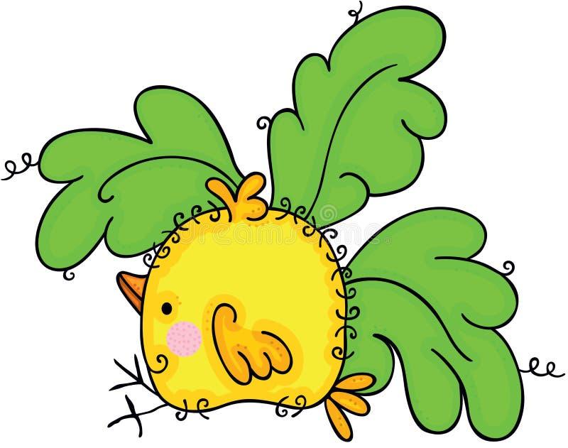 与绿色叶子的逗人喜爱的黄色鸟 皇族释放例证