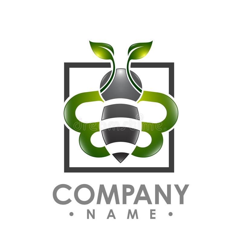 与绿色叶子翼的商标抽象蜂飞行在aquare shap里面 库存例证