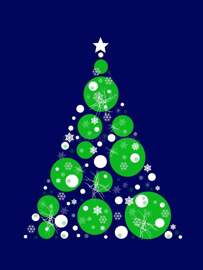 与绿色和白色圈子和蓝色背景的风格化圣诞树 库存例证