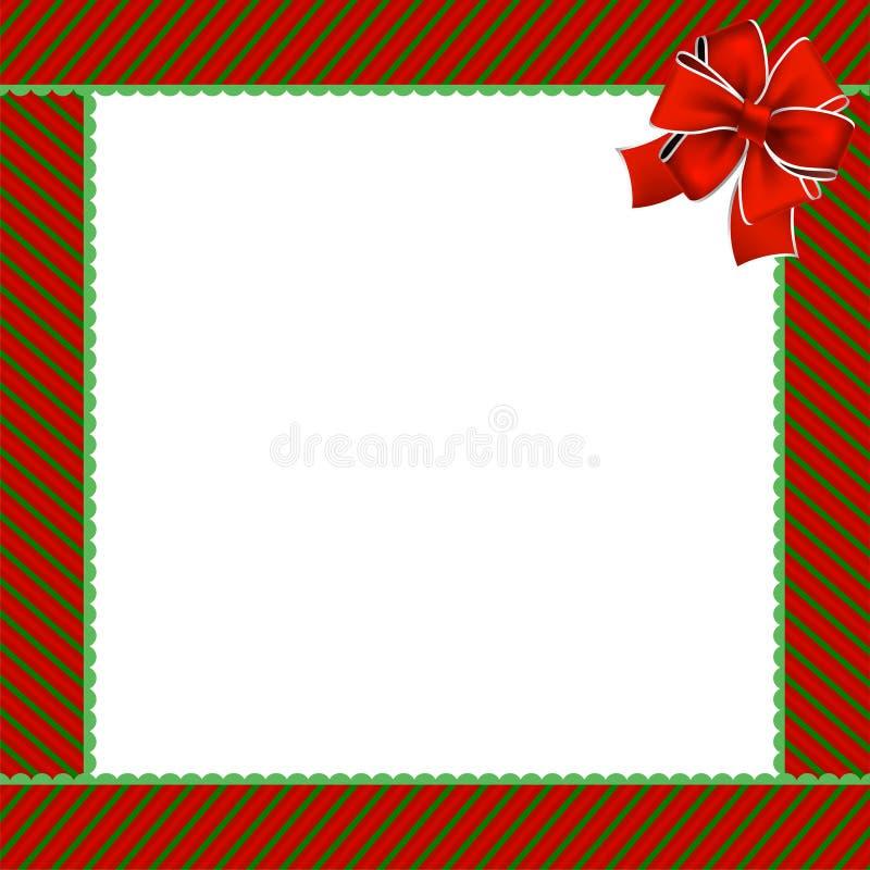与绿色和红色对角条纹的逗人喜爱的圣诞节或新年框架 向量例证
