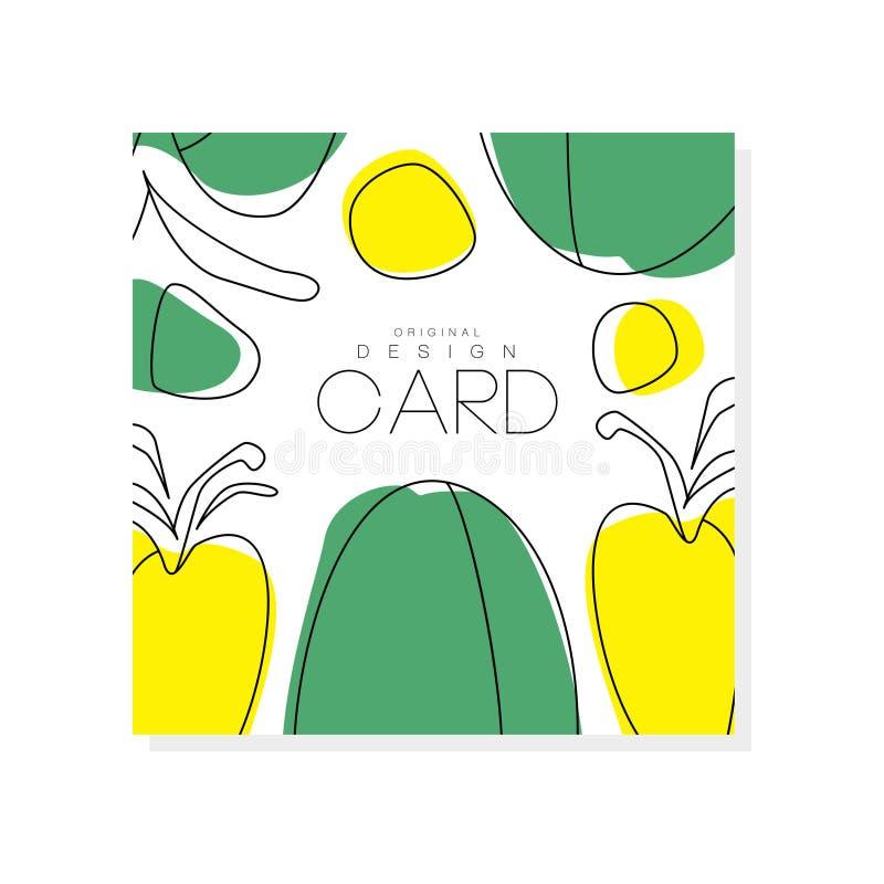 与绿色和黄色菜的抽象卡片 吃健康 新鲜和有机食品 色的传染媒介设计为 皇族释放例证