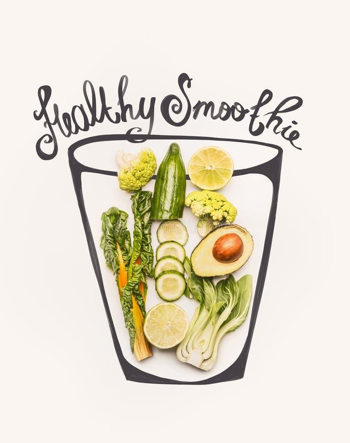 与绿色圆滑的人饮料成份的被绘的玻璃:黄色唐莴苣或无头甘蓝叶子、黄瓜、鲕梨、硬花甘蓝和柠檬,顶视图 库存例证
