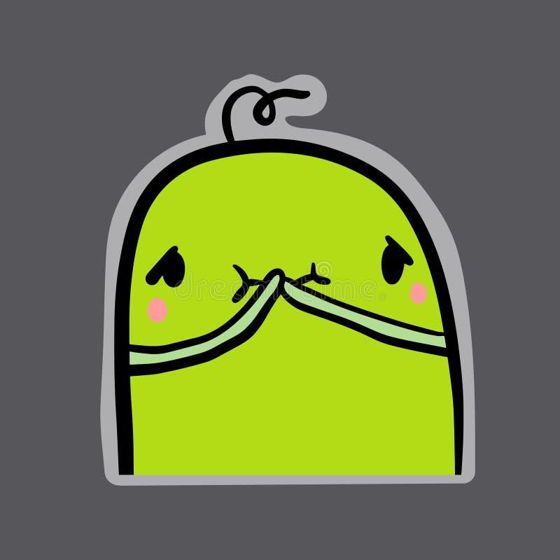 与绿色妖怪的感觉的病态的手拉的贴纸动画片样式的 向量例证