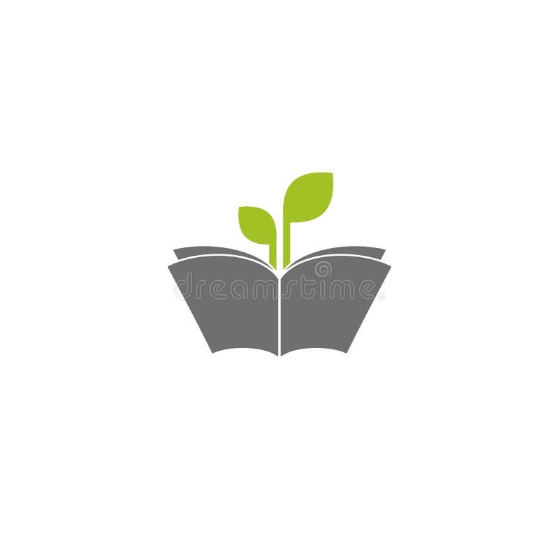 与绿色小树枝和叶子的开放书剪影 在白色背景隔绝的平的象 库存例证