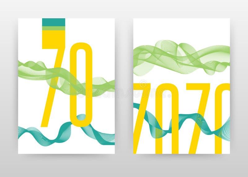 与绿色挥动的线的黄色70个数字为年终报告,小册子,飞行物,海报设计 绿色挥动的线背景传染媒介 库存例证