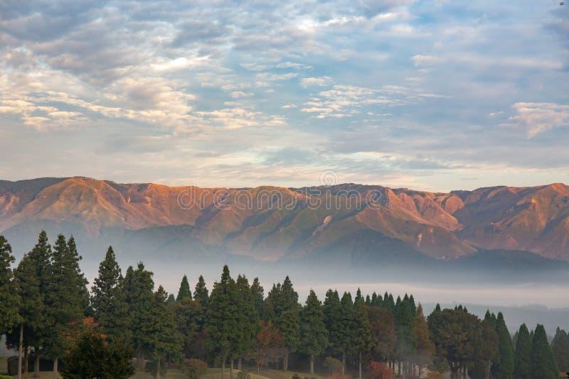 与绿色杉木和雾的山脉在Aso,熊本,日本 免版税库存照片